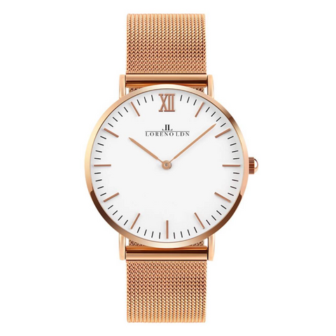 Loreno Unisex Rose Gold (White Dial) Mesh Strap Watch - Adapt Avenue