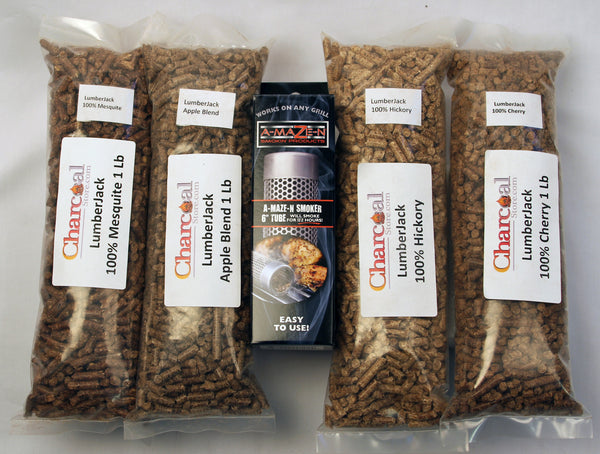 "Pellet Smoker Lumber Jack Combo Pack -   6"" -  Includes 1 Lb Each of Lumber Jack 100% Cherry, Hickory, Mesquite, and 1lb Apple Blend (Free Shipping)"