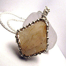 Silver Beaded Yellow Quartz Pendant