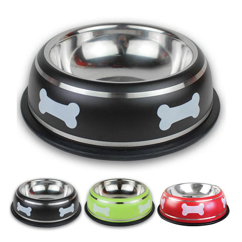 Bone Printed Stainless Steel Dog Bowl, 3 sizes and colors