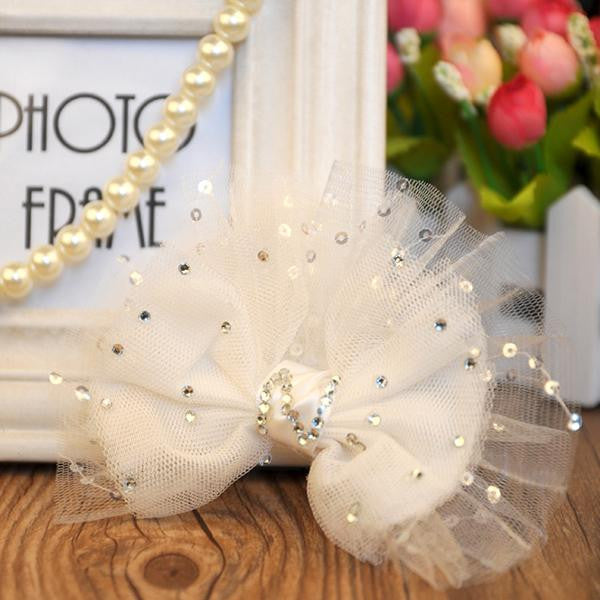 Pet Dog Cat Bling White Bowknot Hair Bow Headdress Puppy Hair pin Clip Accessory