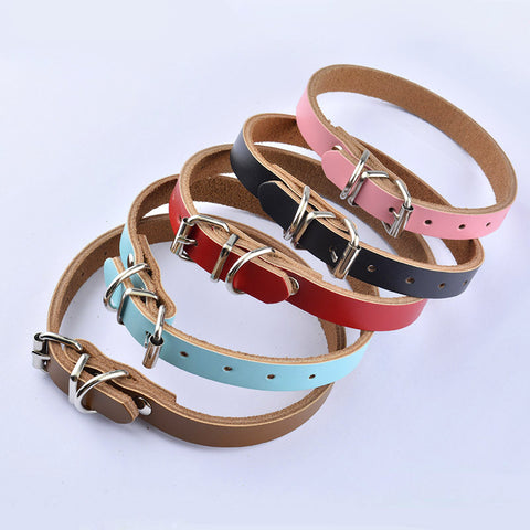 Cow Hide Leather Color Pet Dog Collar