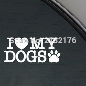 I Love My Dogs Decal