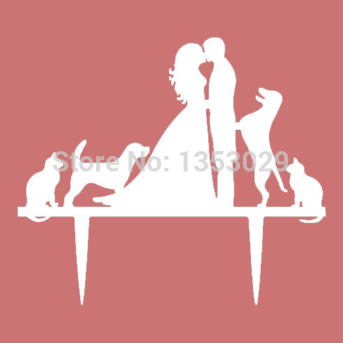 Bride, Groom with  Dog and Cat Wedding Cake Topper
