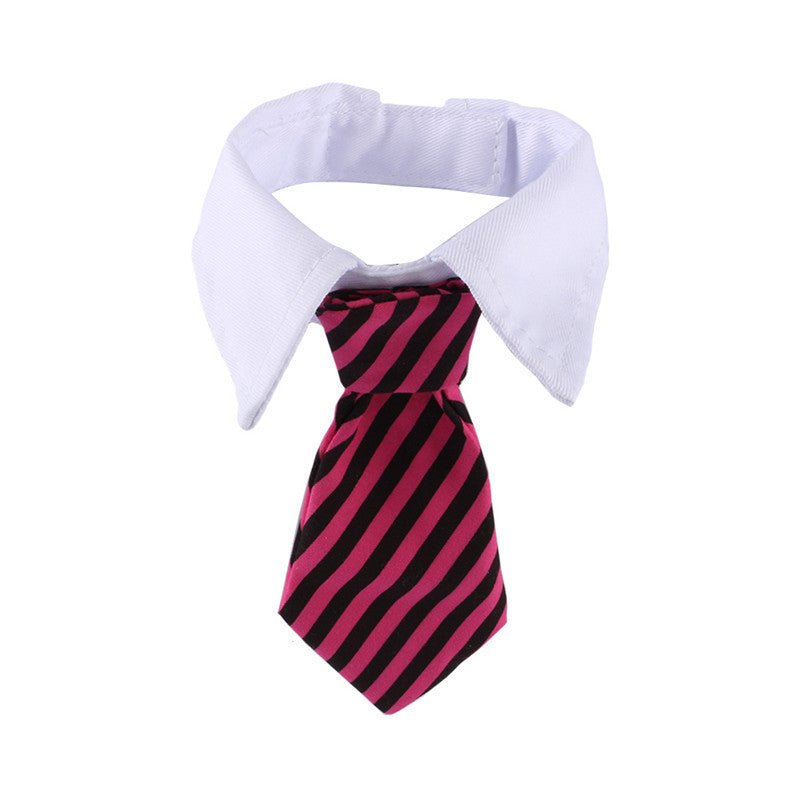 Striped Bow Tie with Collar Adjustable Neck Tie