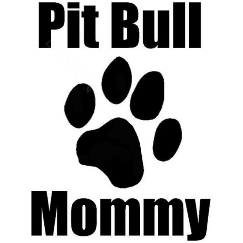 12CM by 16CM Pit Bull Mommy Paw Print Decal