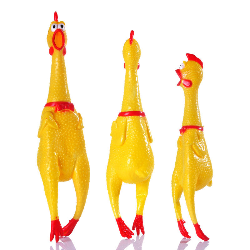 Small Size 17CM Yellow mini Screaming Rubber Chicken Pet Dog love Toy Squeak Squeaker Chew Gift