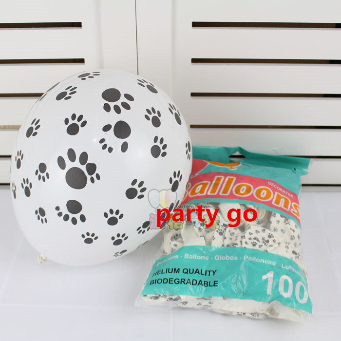 100 Dogs Paw Print Balloons