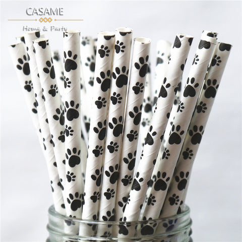 50  White & Black Dog Paw print paper drinking straws