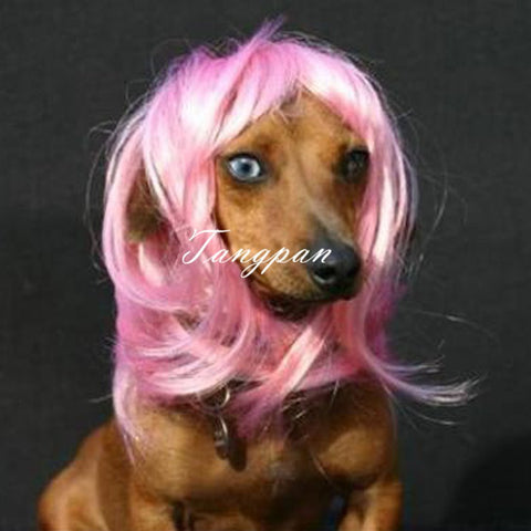 Hot Pink Long Wavy Dog Wig