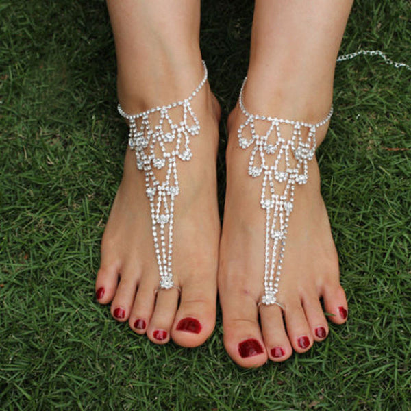 Anklet Bridal Accessories Women Sexy Rhinestone Barefoot Sandals
