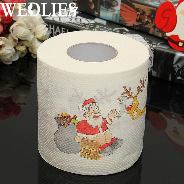 1 Roll Santa Claus Printed Merry Christmas Toilet Paper