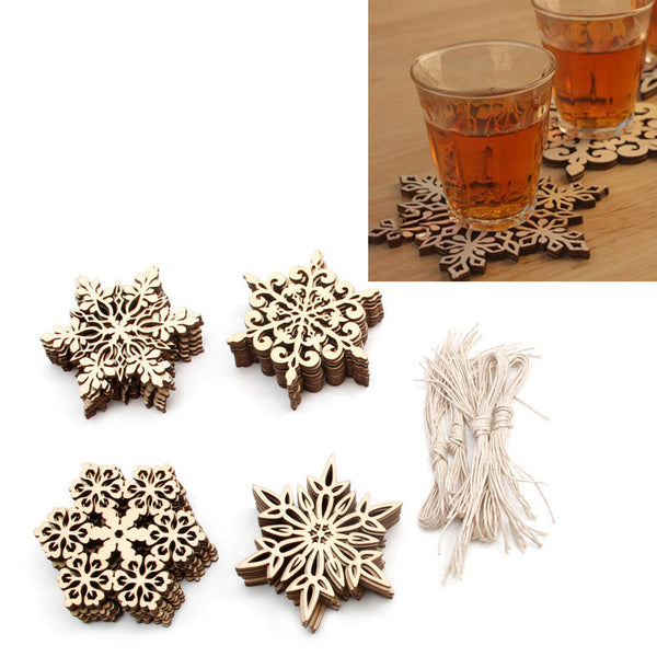 10 Pcs Wood Snowflake Embellishments