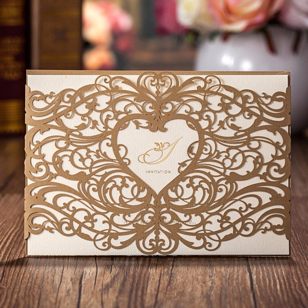 100 Pieces Laser Cut Heart Wedding Invitations Cards Gold & Red
