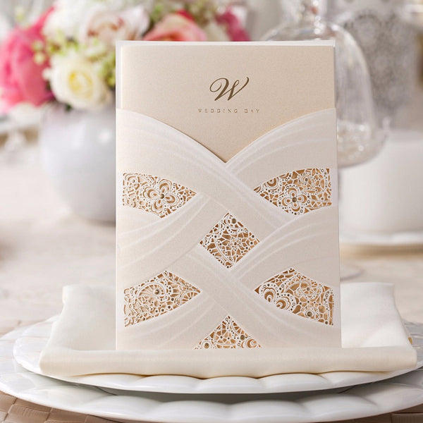 Beautiful Laser Cut White Hollow Floral Wedding Invitations Pearl Paper 100PCS