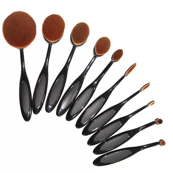 10pcs Oval Cream Power Professional Makeup Brush