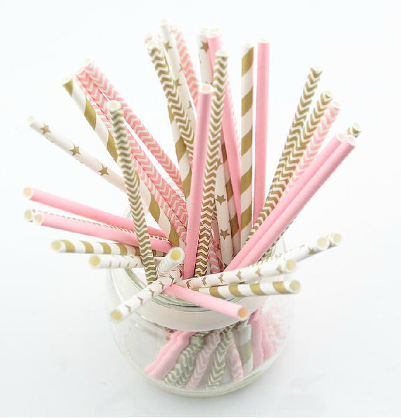 125pcs pink gold striped mixed decorative party straws