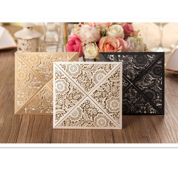Rustic Gold & Beige Wedding Invitations Laser Cut 12 pc
