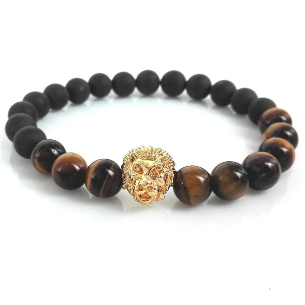 8mm Matte Agate and Tiger eyes Stone Beads with 24k Gold