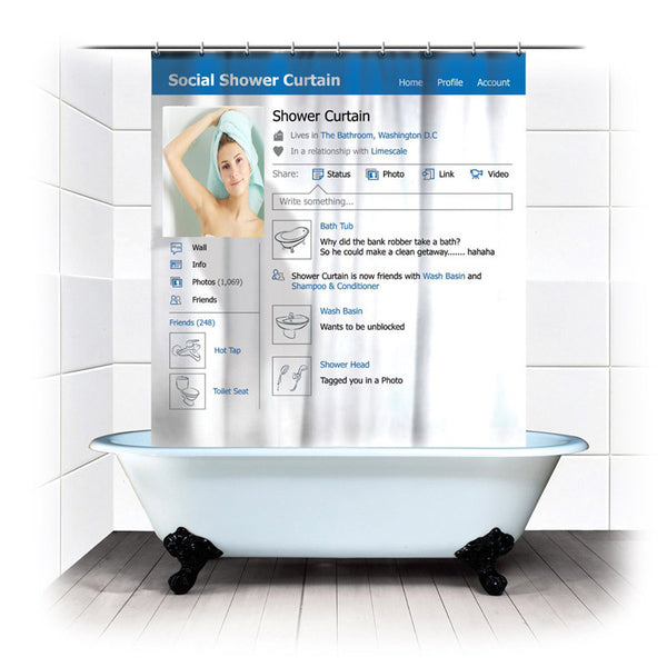 Facebook Shower Curtain Bathroom