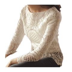 Elegant Women lace Shirts Long Sleeve Top