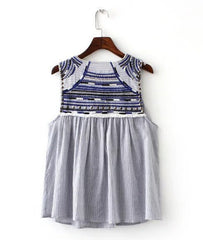 Embroidery Beading Tassel Striped V neck Sleeveless Blouse