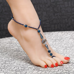 Blue Bead Anklets Toe Barefoot Sandals