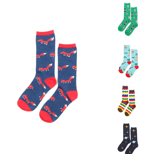 Men Cartoon Colorful Patterns Christmas Socks 35-43 Size