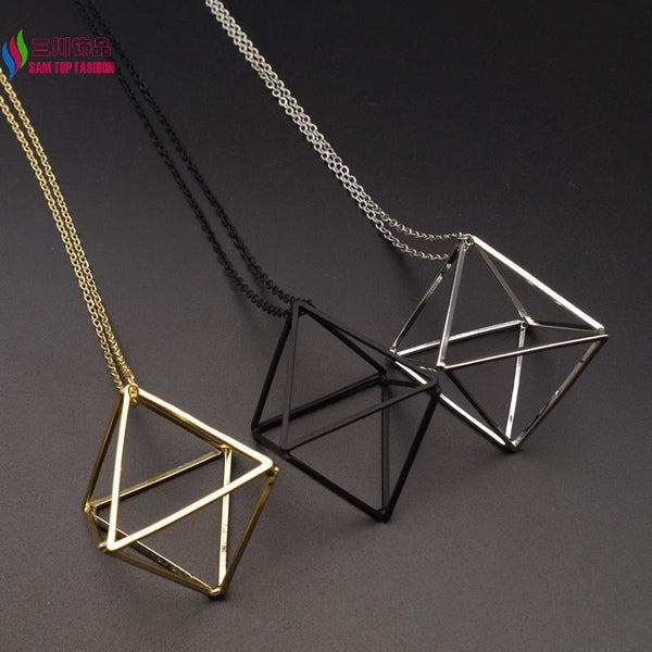3D Geometric rhombus shape Pendant For Women Jewelry