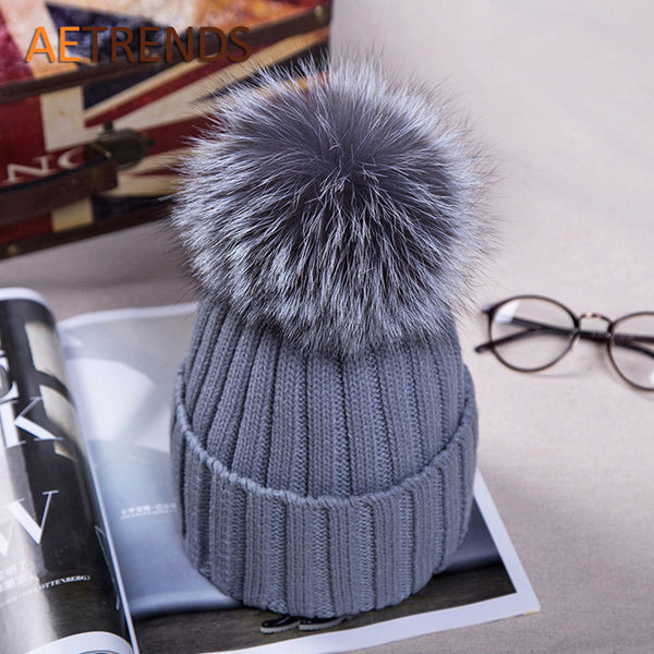 Fox Fur Beanies with Pompom