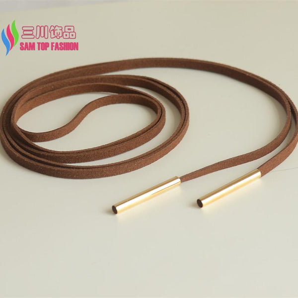Long Black White Brown Leather Necklace Copper Tube
