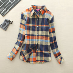 Long-Sleeve Plaid Shirt Women Slim Outerwear Blouse Tops Clothing