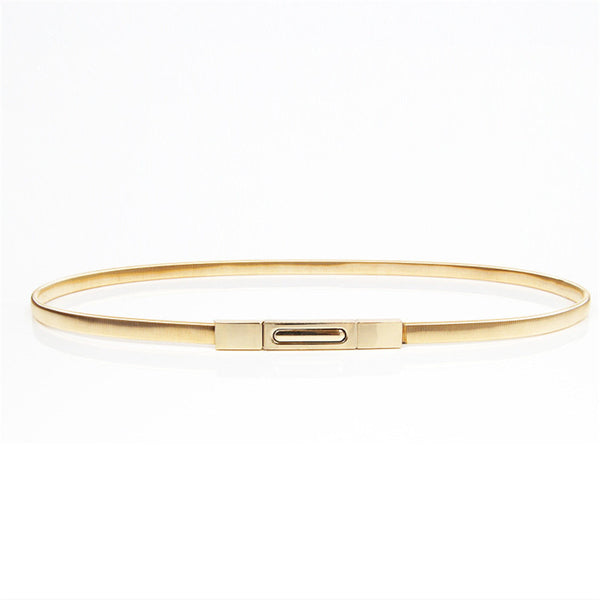 Metal buckle thin elastic waist gold/sliver women skinny belt