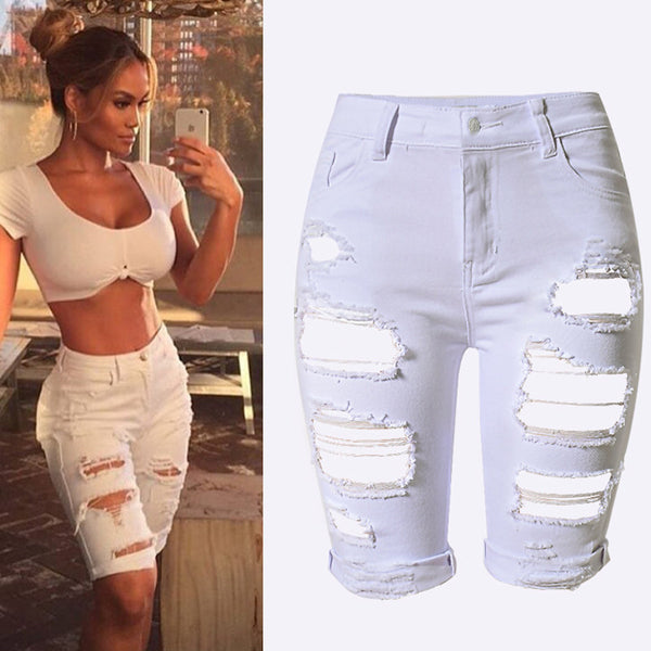White Shorts Women High Waist Shorts Ripped Short Jeans