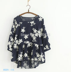 Embroidered Blusas Ruffles Blouse of Women