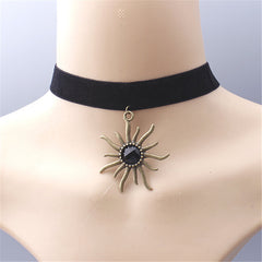 Black ribbon sun shape stone statement necklace