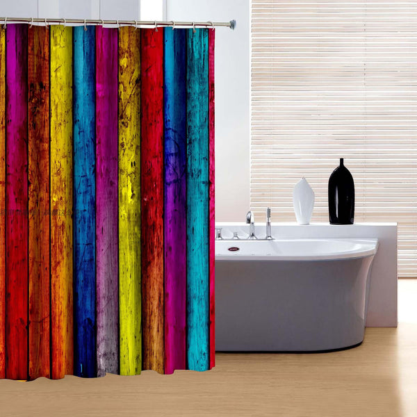 Rainbow Wood 3D Shower Curtains