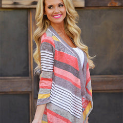 Stripe Shawl Cardigan Tops Cover Up Blouse