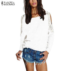 Lace Crochet Off Shoulder Long Sleeve Shirts Tops Blouse Hoodies Sweatshirts