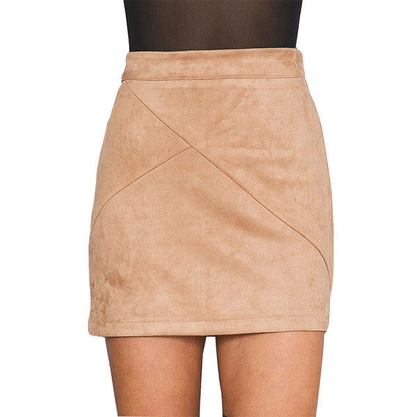 Casual Mini Skirt Suede