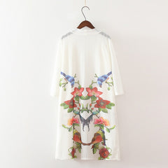 Ink floral print long kimono shirt ladies loose Linen blouse