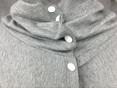 High Neck With Button Warm Gray Color Women's Sweatshirt