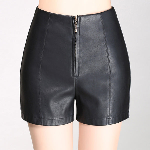 Leather short stright high waist shorts