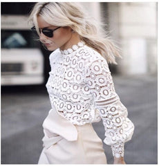 Flower Crochet Lace Blouse Round Neck Long Sleeve