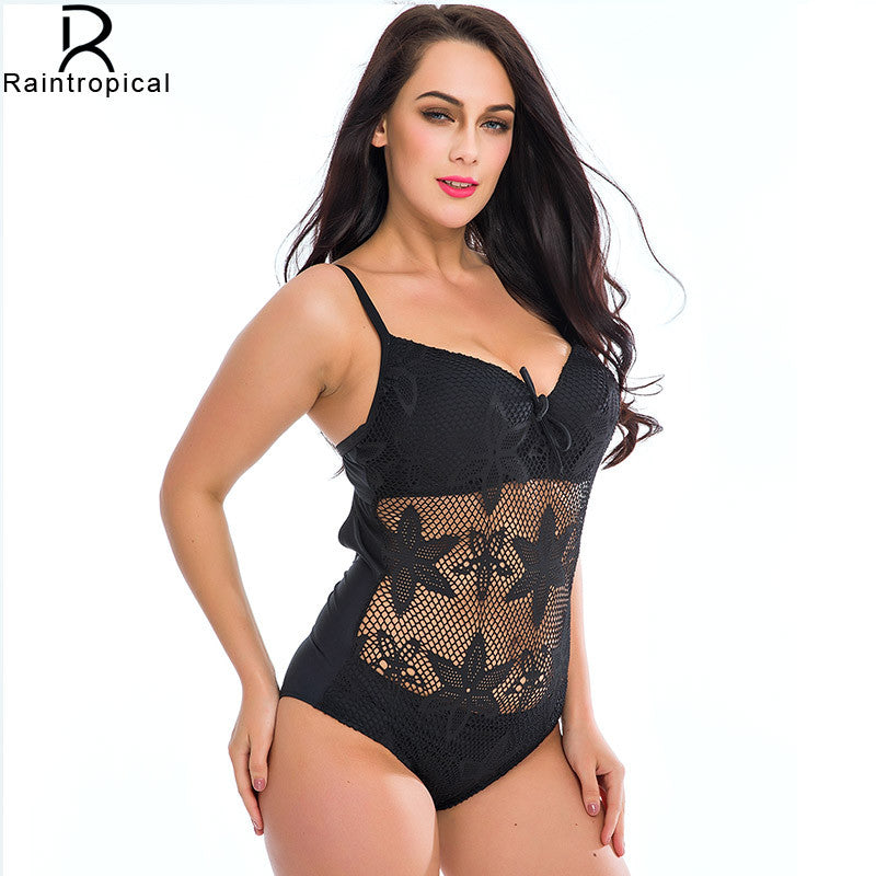 804be5f67b Black Mesh Crocket One Piece Swimwear Plus Size – FashionCOUTURE Store