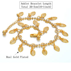 24K Real Gold Plated Foot Jewelry, Bohemian Ankle Bracelet With Leaf Pendant