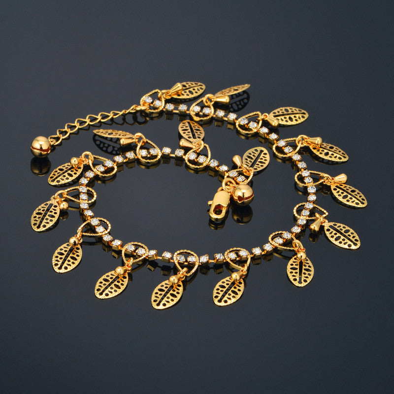 24k real gold plated foot jewelry bohemian ankle bracelet with leaf 24k real gold plated foot jewelry bohemian ankle bracelet with leaf pendant aloadofball Image collections