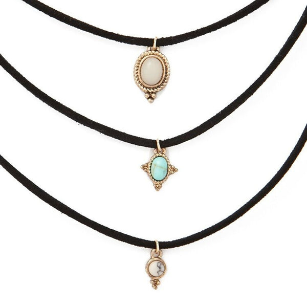 3 Pcs Sets All-match Turquoise Chokers Necklaces