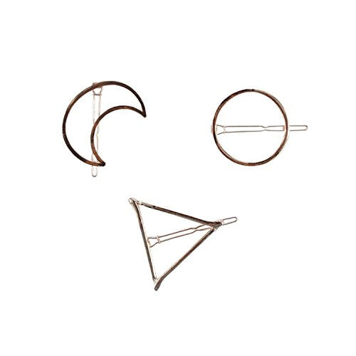 Love Sweety Triangle Moon Circle Shape Hairpin Side Clip Hair Accessories 3pc