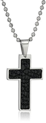 Cold Steel Stainless Steel Leather Cross Pendant Necklace (1/4cttw, H-I Color, I2-I3 Clarity), 24""